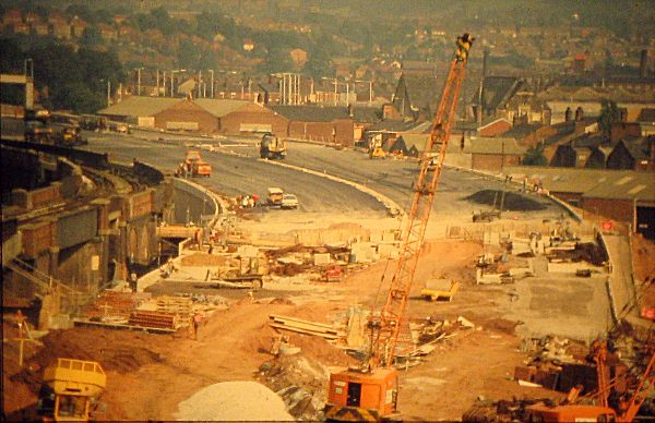 Construction of the motorway and sliproads at the modern day M60 J27 (photo top left), looking east.
