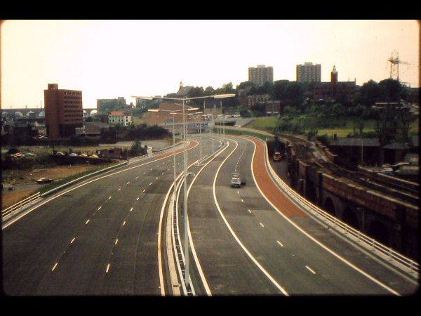 The modern M60 J27 looking west towards Lancashire Hill.
